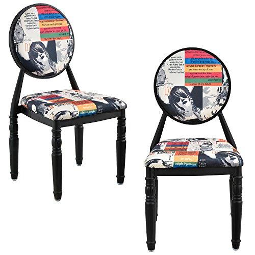 [en.casa]® 2 x Design Patchwork Polsterstuhl (bunt/schwarz) Retro Sessel
