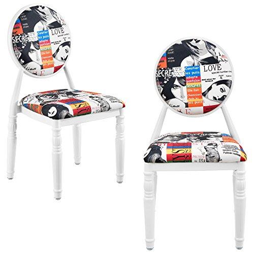 [en.casa]® 2 x Design Patchwork Polsterstuhl (bunt/weiß) Retro Sessel