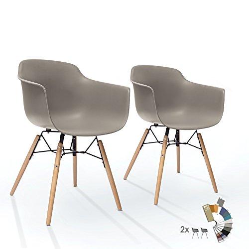 2er Set LTD83 Esszimmer Stühle Mild Grau Kunstoff Designer Schalenstuhl mit Buche Holz Beine Metallgestell Retro Vintage Modern Klassisch Esstisch Stuhl