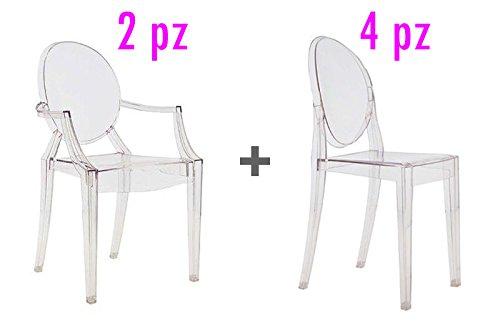 4Stühle + 2Stühle Design Philippe Starck Replica GHOST IN Polycarbonat transparent