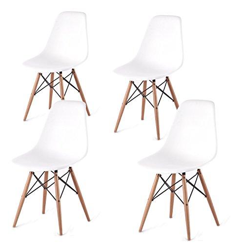 Arredinitaly Set aus 4Stühlen im Replica-Design, aus Polypropylen, weiß, hochwertig
