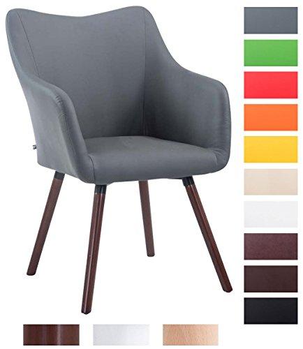CLP Design Besucher-Stuhl MCCOY V2 mit Kunstlederbezug, max. Belastbarkeit 160 kg, Esszimmerstuhl mit Holzgestell, gepolstert Grau, Gestellfarbe: walnuss