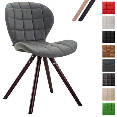 CLP Design Retro-Stuhl ALYSSA, Bein-Form rund, Kunstleder-Sitz gepolstert, Lounge-Sessel, Buchenholz-Gestell, Grau, Gestellfarbe: Cappuccino