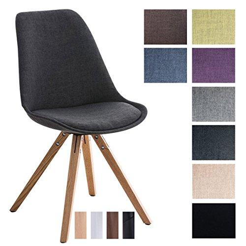 CLP Design Retro Stuhl PEGLEG SQUARE, Stoffbezug, Schalenstuhl, gepolstert, Sitzhöhe 46 cm Dunkelgrau, Holzgestell Farbe natura, Bein-Form eckig