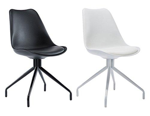 CLP Wartezimmer-Stuhl SPIDER, exklusives Design, Materialmix aus Kunststoff, Kunstleder und Metall schwarz/schwarz