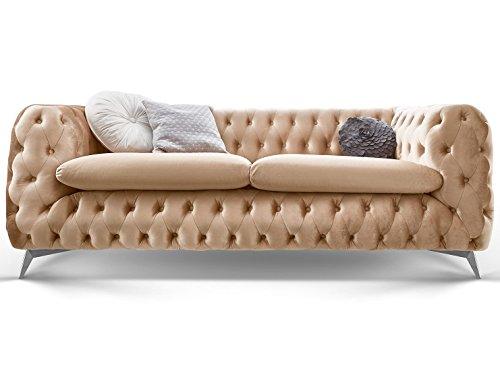 Chesterfield Sofa Couch Stoff Samt 3 Sitzer 2 Sitzer Sessel 1 Sitzer Designer Möbel Emma (3-Sitzer, Creme-Beige)