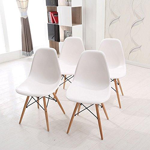Comfortableplus mit Holzbein Dining Chair, 4er Set, Weiß