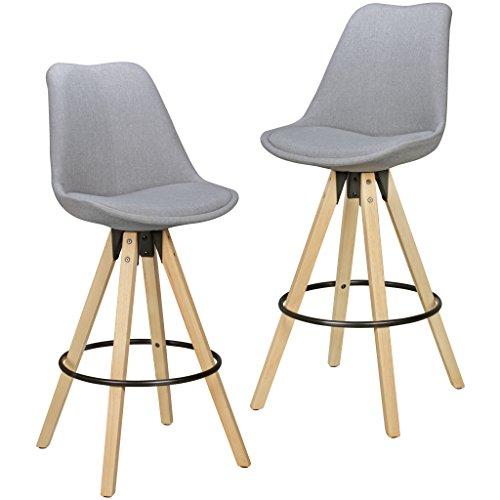 FineBuy 2er Set Barhocker Retro Design Stoff Holz mit Rücken-Lehne in hell-grau | Design Barstuhl Retro Skandinavisch 2 Stück | Tresenhocker Sitzhöhe 72 cm