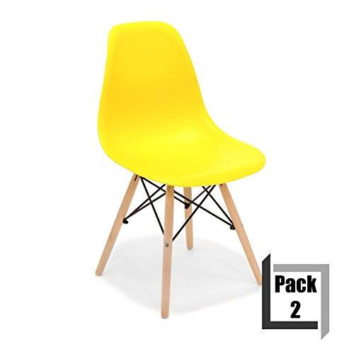 Pack von 2Stühle Tower Wood PP Replica Eames, Qualität und-Holz Buche gelb