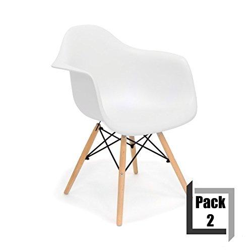 Pack von 2Stühle Tower Wood Replica Eames, hochwertige Polypropylen und Holz Buche–Arme weiß