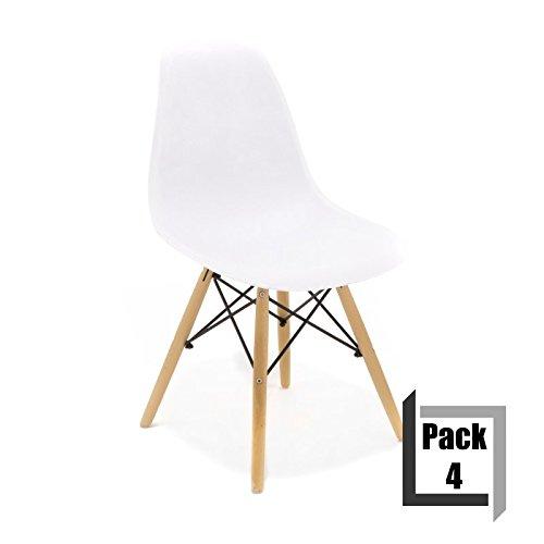 Pack von 4Stühle Tower Wood PP Replica Eames, Qualität und-Holz Buche weiß