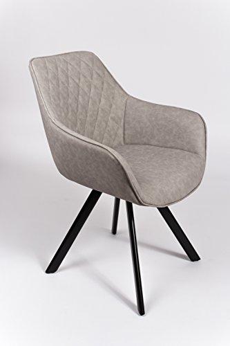 SAM® Stilvoller Armlehnstuhl Amelie, Kunstlederbezug in Grau, abgestepptes Design, schwarze Beine aus Metall, bequemer Sitzkomfort, Esszimmer-Stuhl
