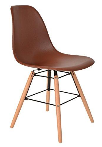 1 x Design Klassiker Stuhl Retro 50er Jahre Barstuhl Küchenstuhl Esszimmer Wohnzimmer Sitz in Braun mit Holz