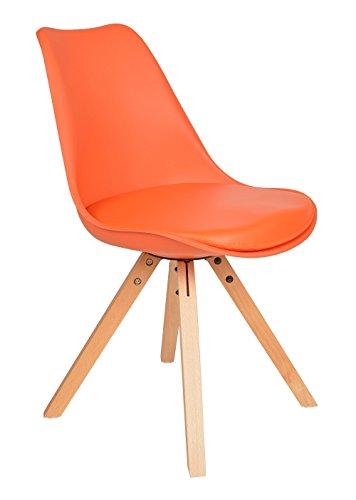 1x Design Wohnzimmer Esstisch Küchen Stuhl Esszimmer Büro Sitz Polster Kunstleder Holz Orange