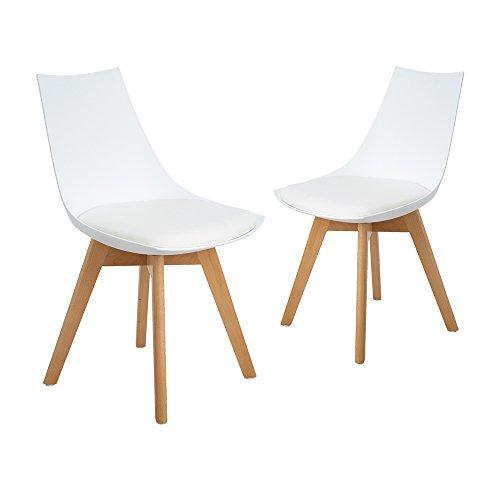 2er Set Esszimmerstühle mit Massivholz Bein, Retro Design Gepolsterter lStuhl Küchenstuhl Holz, Weiß