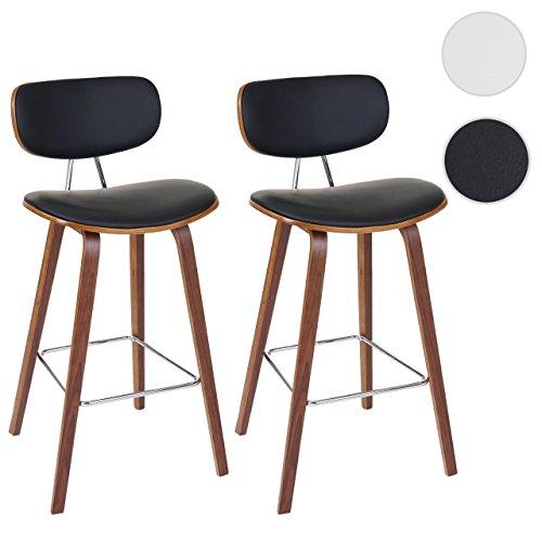 2x Barhocker HWC-C32, Barstuhl Tresenhocker, Retro-Design Holz Bugholz Walnuss-Optik ~ schwarz