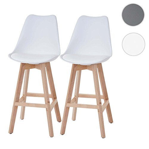 2x Barhocker Malmö T501, Retro Design ~ weiß, Sitzfläche Kunstleder weiß, helle Beine