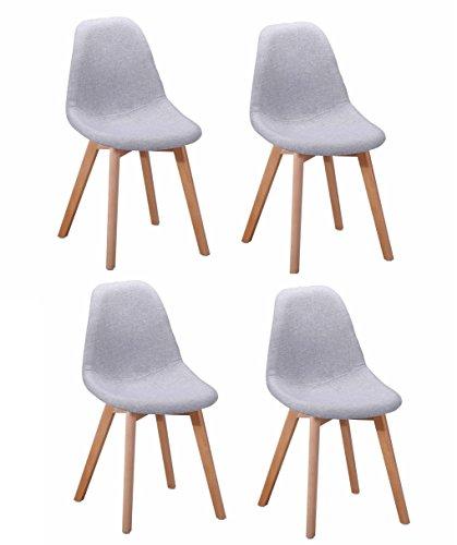 4Stück Stühle teppichflächen Modernes Design–Sitzfläche Komfort–Füße aus Buchenholz–Collection Sandy grau