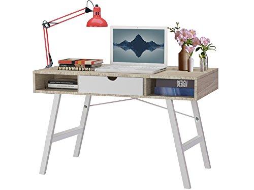 BELLA Design Schreibtisch Bürotisch Computertisch PC Laptop Tisch skandinavisch 1 Schublade 120 x 76 cm (weiß/eiche)