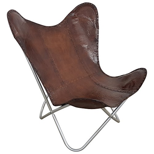 Butterfly Chair Design Sessel Lounge Stuhl echt Leder braun Loungesessel Retro