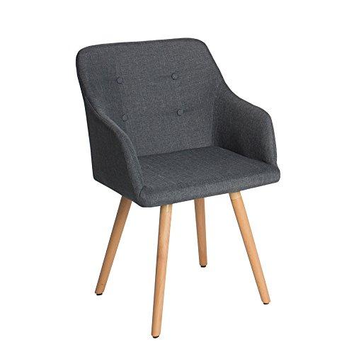Design Stuhl SCANDINAVIA MEISTERSTÜCK Buche Gestell dunkelgrau mit Armlehne grau im Retro Trend Esszimmerstuhl Esszimmer