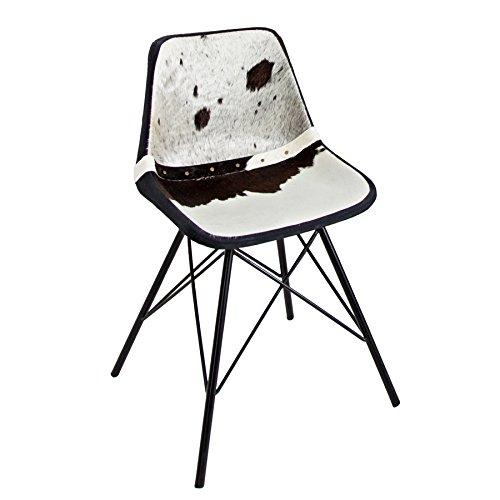 Design Stuhl TORO hochwertiges Kuhfell schwarz weiß Eisengestell Echtfell Esszimmerstuhl Echtleder