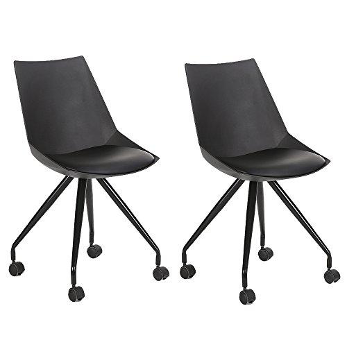 EGGREE 2er Tulip Design Rollhocker Arbeitshocker Hocker Bürostuhl mit Kunstlederbezug, schwarz