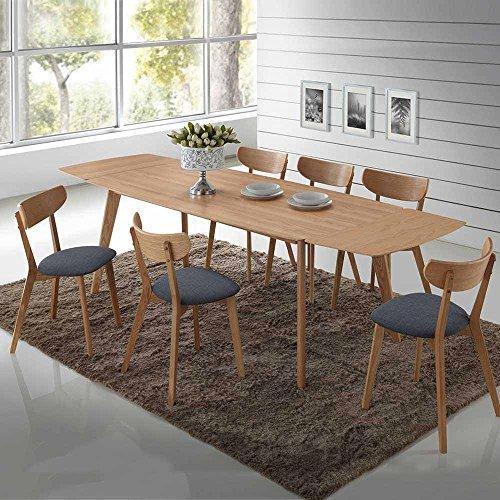 Essgruppe aus Eiche Grau Webstoff Tisch ausziehbar (7-teilig) Ausführung 2 Pharao24