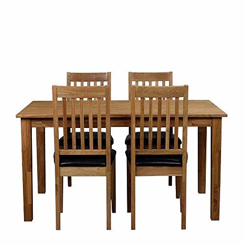 Essgruppe mit 4 Stühlen Eiche Massivholz (5-teilig) Pharao24