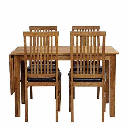 Esstisch mit Stühlen aus Eiche Massivholz Kunstleder Schwarz (5-teilig) Pharao24