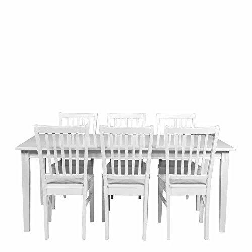 Esstisch mit Stühlen in Weiß im skandinavischen Landhausstil (7-teilig) Ausführung 2 Pharao24