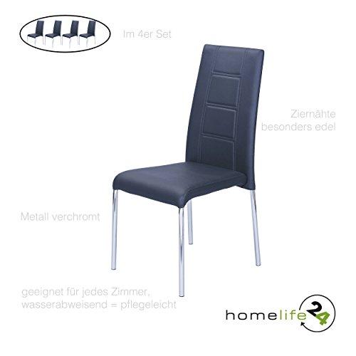 Esszimmer Stühle 4er set schwarz Polsterstuhl Küchenstühle aus Metall verchromt mit Softpolster im Sitz und Rückenbereich