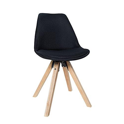 Esszimmer Stuhl SCANDINAVIA Strukturstoff schwarz Retro Beine aus Massivholz Küchenstuhl Besucherstuhl Bürostuhl