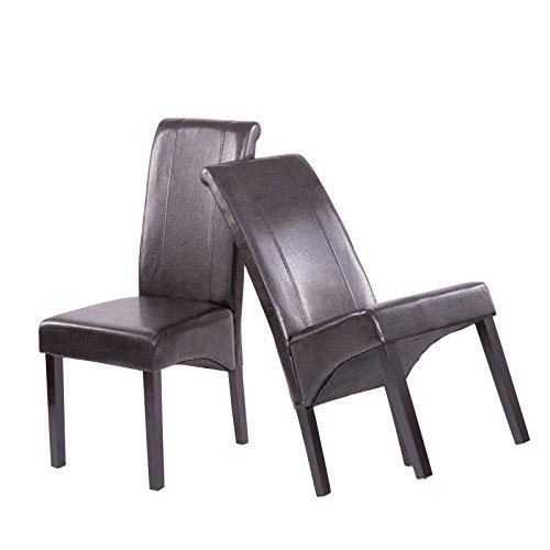 Esszimmerstühle 2er Set schwarz - Hochlehner Küchenstühle mit Polsterung Kunstleder und Holzbeinen