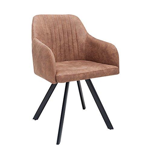 Exklusiver Design Stuhl LUCCA vintage braun mit edler Steppung Roadster Armlehnenstuhl Esszimmerstuhl