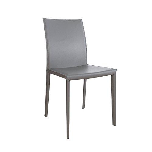 Exklusiver Design Stuhl Milano ECHT LEDER grau Esszimmerstuhl Echtleder Lederstuhl
