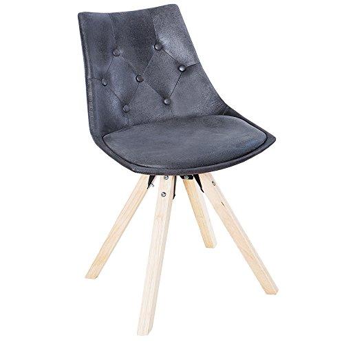 Exklusiver Design Stuhl VERY BRITISH in Antik grau mit Chesterfield Steppung Esszimmerstuhl Skandinavisch Küchenstuhl