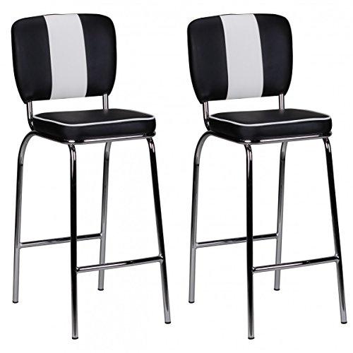 FineBuy 2er Set Barhocker KING American Diner 50er Jahre Retro 2 Barstühle | Sitzfläche gepolstert mit Rücken-Lehne | Thekenstühle mit Fußstütze | Sitzhöhe 76 cm | Farbe: Schwarz Weiß
