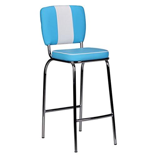FineBuy Barhocker KING American Diner 50er Jahre Retro Barstuhl | Sitzfläche gepolstert mit Rücken-Lehne | Thekenstuhl mit Fußstütze | Sitzhöhe 76 cm | Farbe: Blau Weiß