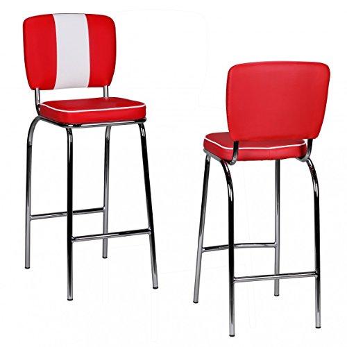 FineBuy Barhocker KING American Diner 50er Jahre Retro Barstuhl | Sitzfläche gepolstert mit Rücken-Lehne | Thekenstuhl mit Fußstütze | Sitzhöhe 76 cm | Farbe: Rot Weiß