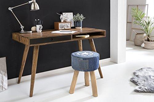 FineBuy Schreibtisch schwarz 120 x 60 x 75 cm Massiv Holz Laptoptisch Sheesham Natur   Landhaus-Stil Arbeitstisch mit 1 Schublade   Bürotisch PC-Tisch