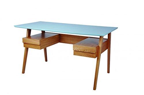 Galdem Retro Schreibtisch Stuhl Regal Büromöbel Set Holzfüße Bürostuhl Computertisch Arbeitstisch Bürotisch PC-Tisch Bücherregal Standregal Esche Blau (Schreibtisch)