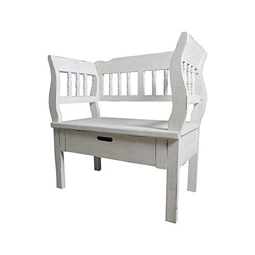 Garderobenbank im Shabby Chic Design Armlehnen Breite 105 cm Sitzplätze 2 Sitzplätze Pharao24