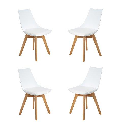 H.J WeDoo 4er Set Retro Designer Stuhl Esszimmerstühle Wohnzimmerstühl mit bequem Gepolstertem Sitz,Weiß
