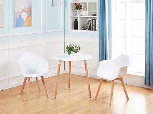 Lot von 2 Esszimmerstuhl, H.J WeDoo Retro Stuhl Beistelltisch mit solide Buchenholz Bein - weiß