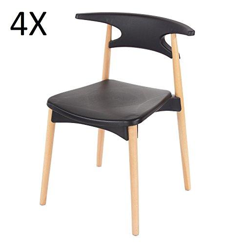 P & N Homewares Basilio Retro Stuhl inspiriert, Kunststoff Esszimmer Büro Meeting Stuhl in weiß oder schwarz 4Stück schwarz