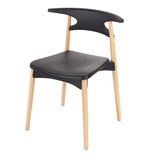 P & N Homewares Basilio Retro Stuhl inspiriert, Kunststoff Esszimmer Büro Meeting Stuhl in weiß oder schwarz schwarz