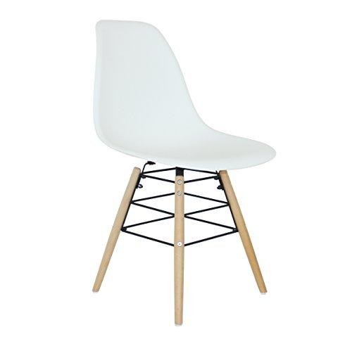 P & N Homewares® Moda Lily Esszimmerstuhl Kunststoff Holz Retro Esszimmer Stühle weiß modernes Möbel weiß