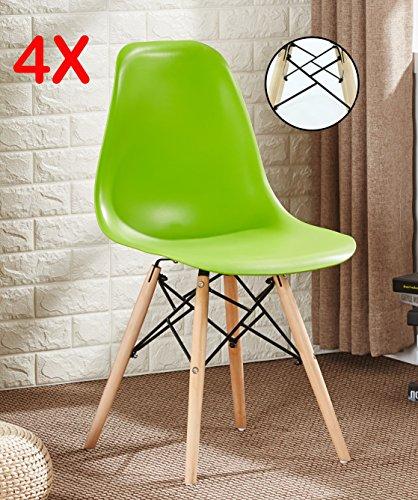 P & N Homewares® Set von 4Romano DS Moda Stuhl Kunststoff Retro Esszimmer Stühle weiß schwarz grau rot gelb pink grün blau Retro grün