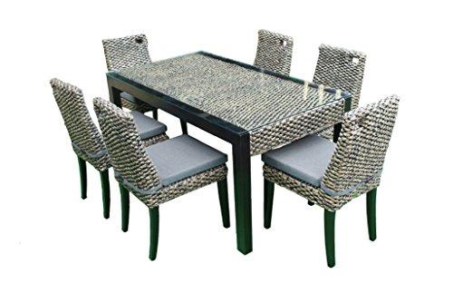 RATTAN Wasserhyazinthe Lounge Essset Pisa 13 Teilig Esstisch Stuhl Set Essgruppe Tischgruppe Esstischgruppe Sitzgruppe Esszimmergarnitur MASSIVHOLZ RAHMEN